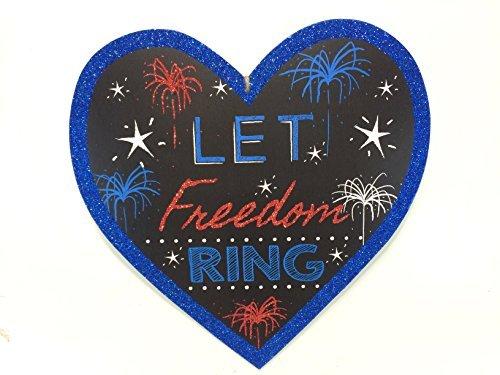 Patriotic Heart Shaped Hanging Glitter Wall/Door Decoration -