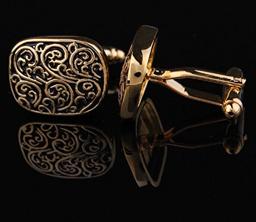 Rome Antique Style Handmade Copper Cufflinks for Men's 1 Pair Gift Boxed (gold)