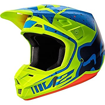 Casco Moto Cross Enduro Fox V2 nirv de fibra Yellow Azul Small