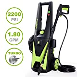 PowRyte Elite 2200PSI 1.80GPM Electric Pressure Washer with Extra Turbo Nozzle, 3 Quick-Connect Spray Tips and Tall Handle