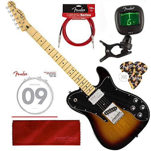 Squier by Fender Vintage Modified Telecaster Custom Electric Guitar - 3-Color Sunburst - Maple Fingerboard with Tuner and Bundle (Maple Telecaster Neck With Tuners)