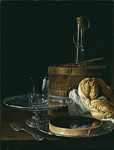 Polyster Canvas ,the Art Decorative Prints On Canvas Of Oil Painting 'Melendez Luis Egidio Bodegon Con Caja De Jalea Rosca De Pan Enfriador Con Botella Salvilla De Plata Y Vaso 1770 ', 24 X 32 Inch / 61 X 80 Cm Is Best For Home Theater Decoration And Home Decoration And Gifts - 80's Personal Trainer Costume