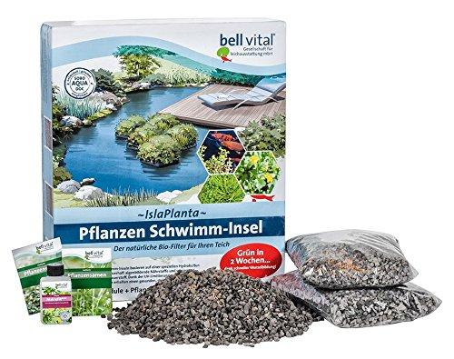 Isla Planta Pflanzen Schwimm-Insel, 3er Set, mit Wasserpflanzen-Samen und Biokorn für schnellen Start, natürlicher Bio-Filter für den Teich, inkl. 5€ GUTSCHEIN auf Ihren nächsten Einkauf