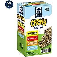 Quaker Chewy Granola Bars, 25% Less Sugar 3 Flavor Variety Pack (58 Bars)