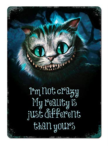 (PotteLove I'm Not Crazy Cheshire Cat Metal Wall Sign Plaque Art Alice Mad Hatter)