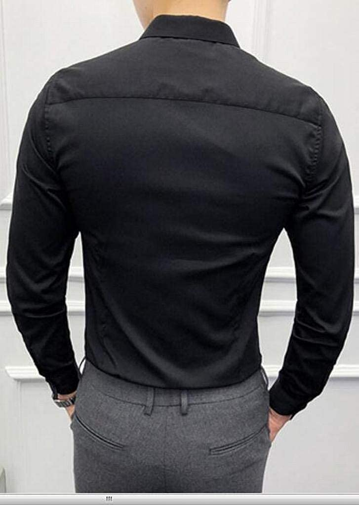 Fubotevic Mens Hair Stylist Work Slim Long Sleeve Nightclub Formal Pure Color Button Down Shirts