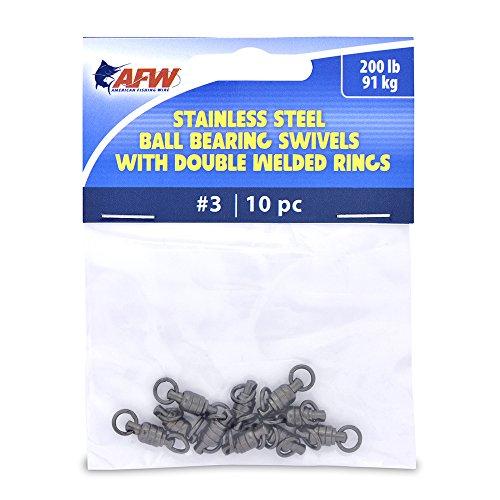 American Fishing Wire Stainless Steel Ball Bearing Swivels (10-Piece), Gunmetal Black, Size #3/200-Pound/91Kg Test