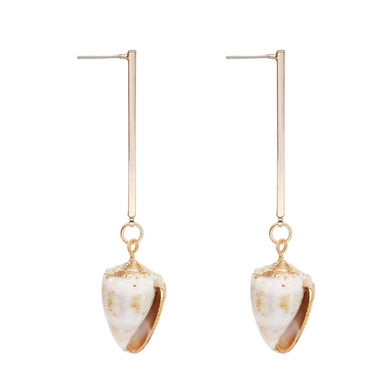 White Shell Earrings Pendant Dangle Gold Plated Lightweight Fashion Gift for Women Girls