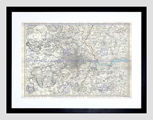 MAP Illustrated Antique SDUK London Black Framed Art Print B12X4977