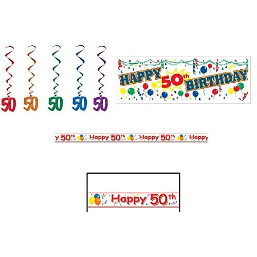 HAPPY 50th Birthday Party Decorations LOOK Whos 50 SIGN Banner WARNING TAPE