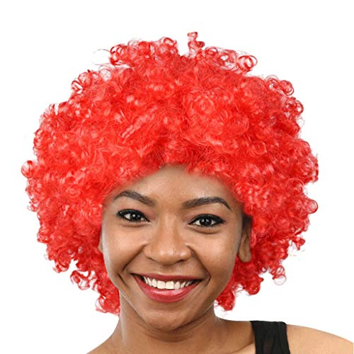 Tigivemen wigs Clown Wig, Funny Wig, Funny Afro Clown Hair Football Afro Hair Wig Cosplay