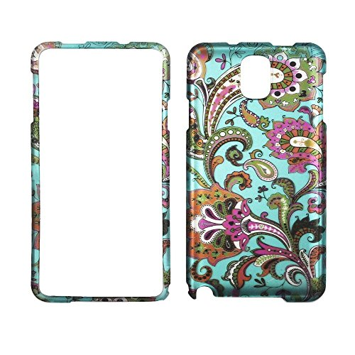 2D Blue Paisley Samsung Galaxy note 3 III N9000 Case Cover Hard Phone Case Snap-on Cover Rubberized Touch Faceplates (Faceplates Samsung Phone)