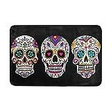 DemonCo Sugar Skull Door Mat Rug, Mexican Dia De Los Muertos Day of The Dead Welcome Mat Doormat Entrance Kitchen Bathroom Mat Rug Outdoor Indoor Decor 23.6 X 15.7 Inches