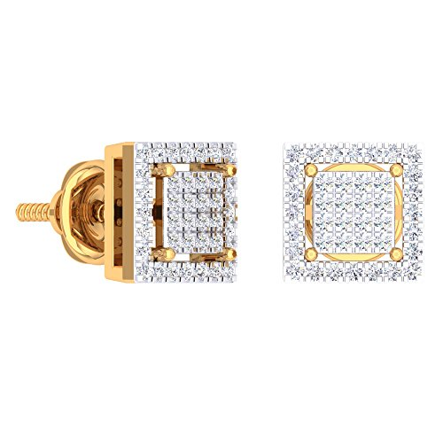 (Dazzlingrock Collection 0.32 Carat (Ctw) 10K Round White Diamond Square Shaped Stud Earrings 1/3 CT, Yellow)