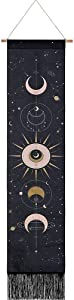 DUOFEI Moon Phases Tapestry, Moon Tapestry Small Black Tapestry Bohemian Tapestries Cotton Linen Wall Hanging Art for Room Decor (Black, 12.8