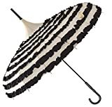 Outgeek Ladies Sunproof Umbrella Parasol Lace Flowers Pagoda-Shaped Victoria Style Long Handle (Cream)