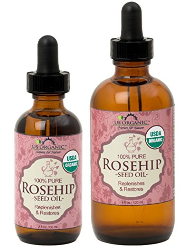 US Organic Rosehip Seed Oil, USDA Certified Organic, Amber Glass Bottle and Glass Eye Dropper for Easy Application
