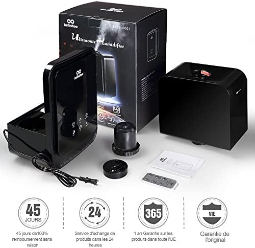 Humidificateur d'Air avec Ecran Tactile Intelligent | Infinitoo 4.5L Humidificateur Bébé | Arrêt Automatique | Brumisation Rotative 360° Vaporisateur | Parfait pour Salon, Chambre, SPA, Bureau,etc.