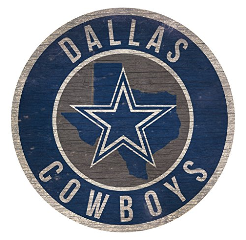 Fan Creations Dallas Cowboys Wood Sign 12 Inch Round State Design ()