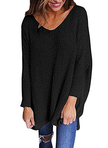 Sidefeel Women V Neck Oversized Knitted Baggy Sweater Top Jumper Pullovers X-Large Black