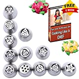 KESWON - Russian Nozzles Piping Tips Set For Cupcakes Decorations of 304 Stainless Steel - Durable, Strong, Seamless, Non-Toxic and Safe to Use - FDA Approved- 12 Tips, 10 Bags 1 Hopper