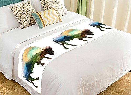 Custom Animal Art Bed Runner, The Bison Mountain Bed Runners And Scarves Bed Decoration 20x95 inch by PicaqiuXzzz