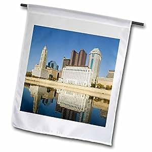 Danita Delimont - City Skylines - Ohio, Columbus City Skyline along Sciotto River - US38 WBI0196 - Walter Bibikow - 18 x 27 inch Garden Flag (fl_94141_2)