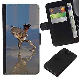 YiPhone /// Tirón de la caja Cartera de cuero con ranuras para tarjetas - Lago de Aves - Samsung ALPHA G850