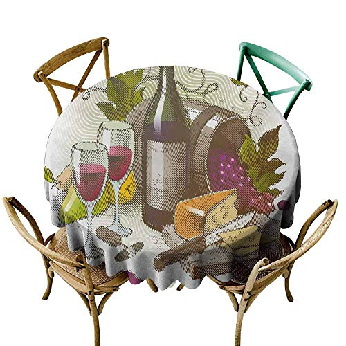 "KaMiao Outdoor Picnics Wine,Vintage Style Composition with Wine and Cheese Fruits Gourmet Taste Beverage and Food,Multicolor Diameter 60"" Garden Round Tablecloth from KaMiao"