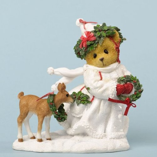 Enesco Cherished Teddies Collection Bear in White Outfit Figurine, 3.875-Inch