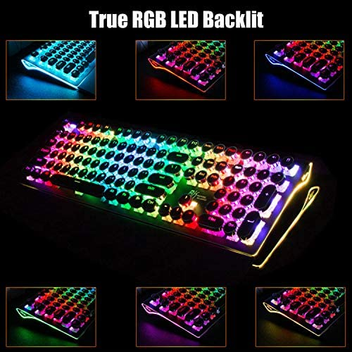 RK ROYAL KLUDGE TYPEWRITER STYLE MECHANICAL GAMING KEYBOARD WITH TRUE RGB BACKLIT COLLAPSIBLE WRIST REST 108-KEY BLUE SWITCH RETRO ROUND KEYCAP, BLACK