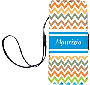 "Rikki Knight Flip Wallet Case for iPhone 5/5s - Non-Retail Packaging - ""Maurizio"" Blue Chevron"