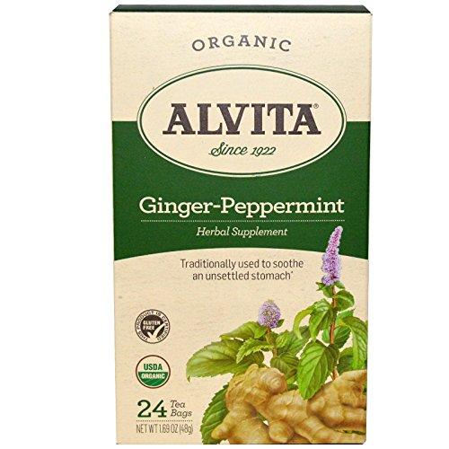 Alvita Teas, Ginger-Peppermint, Organic, Caffeine Free, 24 Tea Bag, 1.69 oz (48 g) - 3PC by