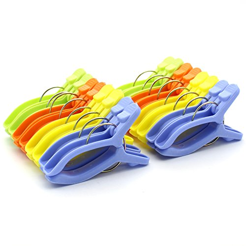 Zicome Colorful Plastic Clothespins, 3.6 Inch, Set of 16