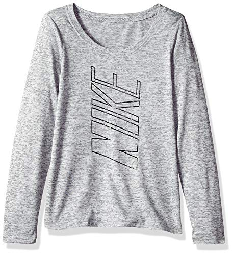 NIKE Victory Girls' Veneer Graphic Long-Sleeve Top, Black/Heather/Black, Large