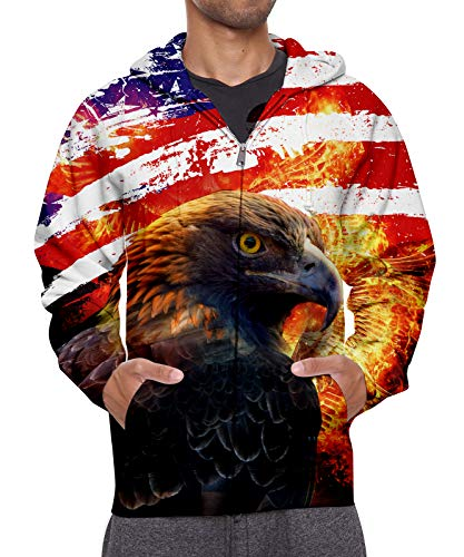 Girls Front Zip Hoodie Men and Womens Colourful 3D Eagle American Flag Graphic Print Long Sleeve Pullover Coat with Pockets M