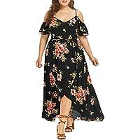 2018 New! Summer Plus Size Dresses,Women Casual Floral Pattern Off Shoulder V Neck Bandage Irregular Slit Long Dress