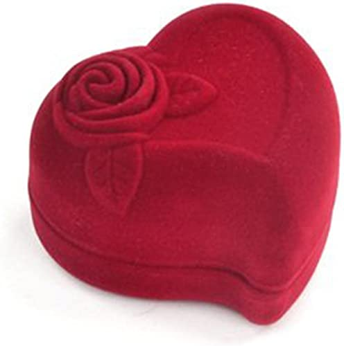 Red Love Heart Flocked Ring Box Jewelry Gift Storage Engagement Wedding Proposal