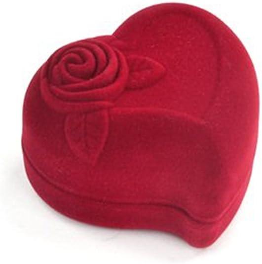 Romantic Red Love Heart Velvet Ring Box Wedding Engagement Ring Case Display Box