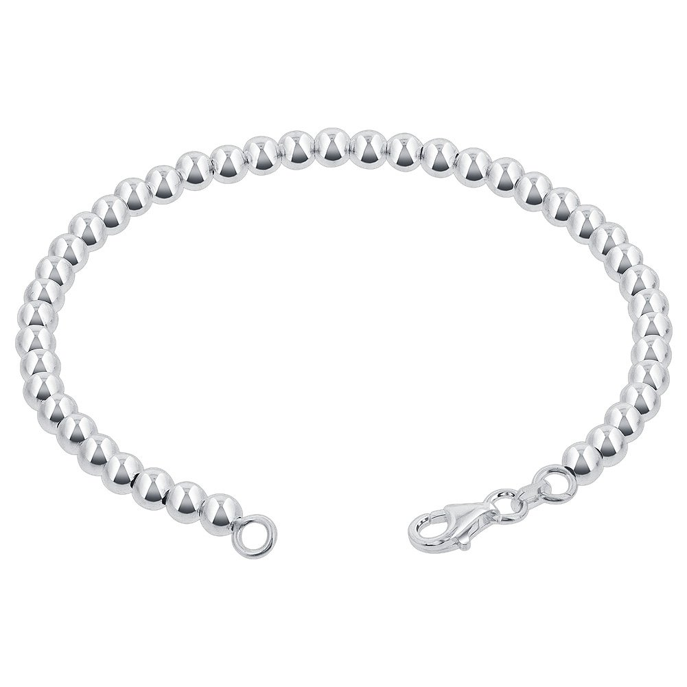Gem Avenue 925 Sterling Silver 4mm Beads Bracelet With Lobster Clasp (7'' - 8'' Available)