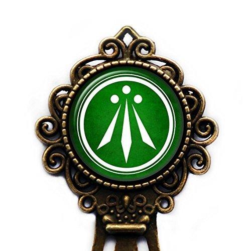 Celtic Symbol - The Awen Three Rays of Light - White on Green Bronze Bookmark