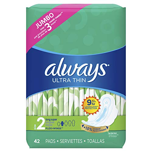 Always Ultra Thin Feminine Pads with Wings for Women, Size 2, Super Absorbency, Unscented, 42 Count - Pack of 3 (126 Count Total) ()