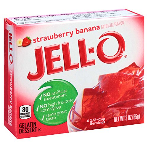 JELL-O Strawberry Banana Gelatin Dessert Mix (3 oz Boxes, Pack of 6)