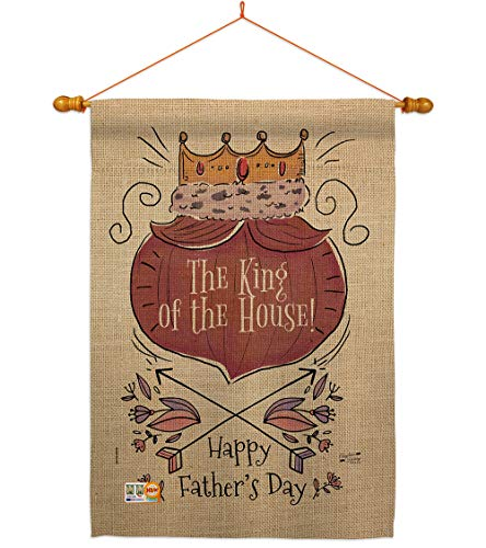Angeleno Heritagethe King Of House Flag Dowel Set Family Father S Day Dad Daddy Papa Grandpa Best Parent Sibling Relatives Grandparent Decoration Banner Small Garden Yard Gift Double Sided Made In Usa