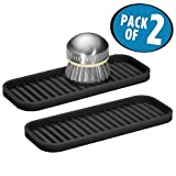 mDesign Silicone Kitchen Sink Storage Organizer Holder Tray for Sponges, Soaps, Scrubbers - Ribbed Base, Quick Drying, Waterproof, Non-Slip Durable - Pack of 2, Black