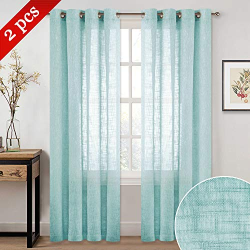 NICETOWN Privacy Translucent Faux Linen Sheer Window Curtains, Eyelet Top Design Linen Textured Look Semi-Voile Drapes for Hall/Cottage (52 inches Wide, 84 inches Long, 2 Pieces, Ocean Wave) (Pergola Luxury Designs)