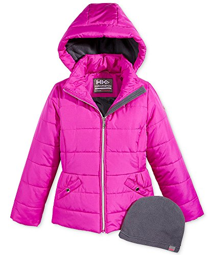 Hawke & Co. Outfitter Girls Isabel Hooded Puffer Jacket with Hat, Big Girls (10/12), Magenta Glow (Co Outfitter Hawke)