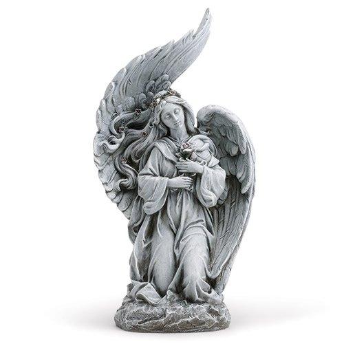 Roses Statue (Kneeling Angel Holding Rose Outdoor Garden Statue Figurine Yard Decoration 10819)