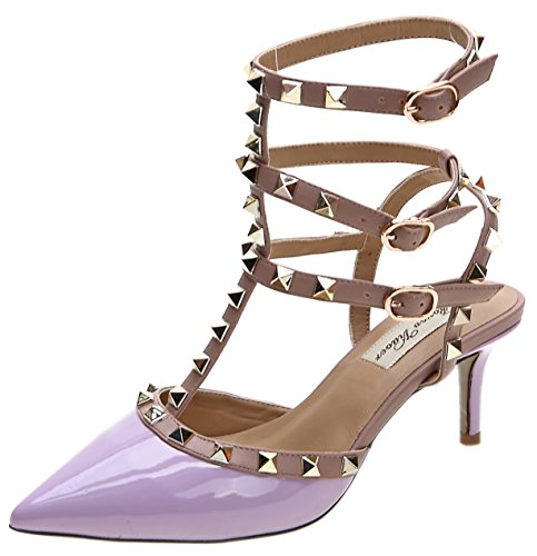 Royou Yiuoer Fourteen Colors Women's Patent Leather Buckle Studded Sandals T-Strap Kitten Pumps Dress Sandals Purple 7 B(M) US