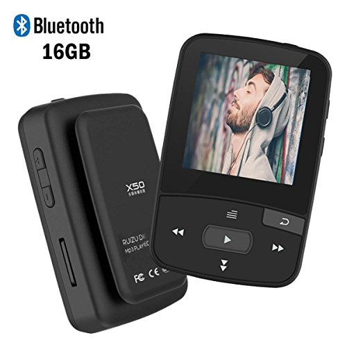 MP3 Player with Bluetooth,16GB Clip Bluetooth MP3 Player with FM Radio Voice Record Mini Size Music Player,Micro SD Card Support 64GB-Black from ()